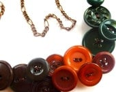 Winter sale Earth Tones Vintage Button Statement Necklace in Brown, Rusty Orange, and Deep Green