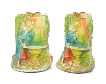 Cast Iron Bookends, Art Nouveau, Antique 1920, Girl Drinking at Lion Font Fountain, Colorfully Air-brushed (Original), Home Decor