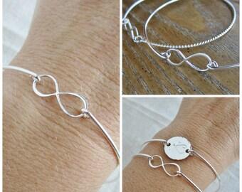 Bridesmaid bracelet, infinity bracelet, sterling silver initial bracelet, monogram bracelet, personalized bridesmaid gift, infinity charm
