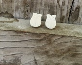 Cream Owl Earrings/owl post earrings/owl lover earrings/retro owl earrings/pin up earrings/white dainty owl earrings/owl earrings