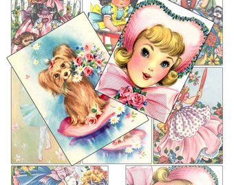 Digital Collage Sheet Vintage Girl Children Greeting Card Images ATC ACEO Png File Instant Download