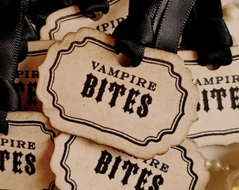 Vampire Bites, Halloween Tags, Halloween Wedding, Halloween Candy, Gothic Wedding, Occult Tags, Macabre Tags, Halloween Favours, Favor Tags