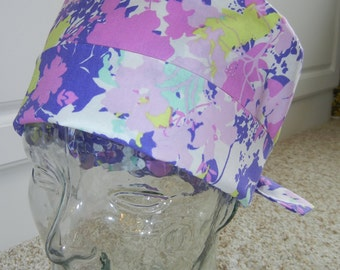 Tie Back Surgical Scrub Hat in Floral Lavender Sweet