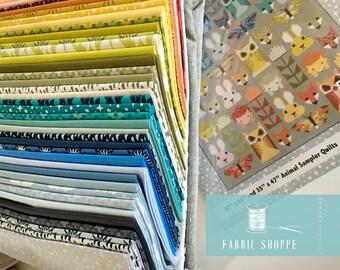 SALE, Quilt Kit Woodland, Fancy Forest QUILT KIT, Woodland Baby Quilt, Elizabeth Hartman, Pattern plus fabrics for Quilt Top, Fox Quilt