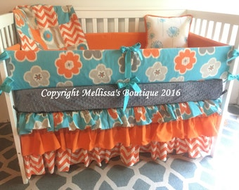 Custom Aqua/Turquoise Orange & Gray 3 Tier Ruffled Boutique Complete 5 Piece Crib Bedding Set MADE To ORDER