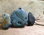 RARE FINDS...3 genuine blue slag glass beach finds, aqua blue Seaham UK beach
