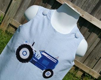 Old blue farm tractor boy's jon jon