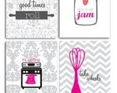 Kitchen art prints, Whip it, Good times roll, kitchen quotes, funny kitchen art
