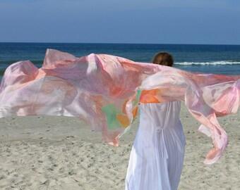 Fiesta ... hand painted silk dance veil