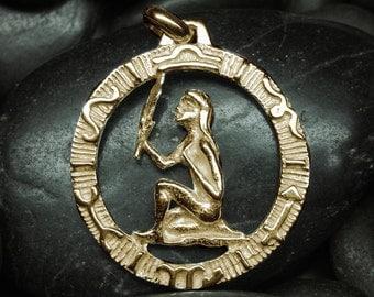 10kt gold Virgo zodiac pendant