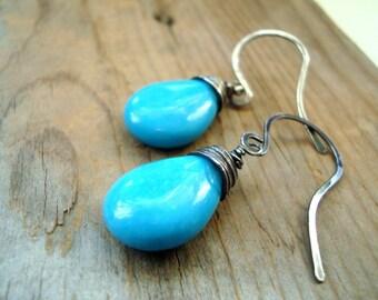 Large Turquoise Teardrop Earrings Wire Wrapped Oxidized Sterling Silver Gemstone Jewelry Boho Beachy December Birthstone Autumn Jewelry