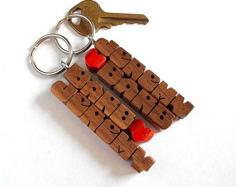 """SPECIAL for 2 - Personalized """"His and Hers"""" Love Keychains - WalnutWood Names"""