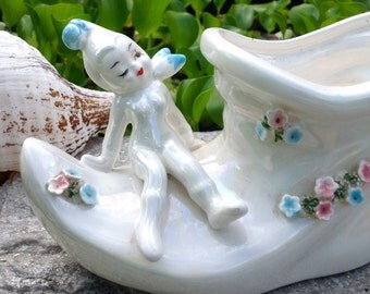 FREE SHIPPING-Vintage Lefton Irredescent Opalescent Elf Pixie Fairy on Elf Boot Planter with little Flowers-Magical-Mystical-Garden Decor