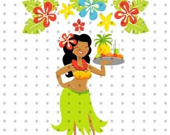 Hawaii Luau Girl Royalty Free Clipart Set
