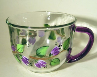Hand Painted Purple Flowers Tea Cup