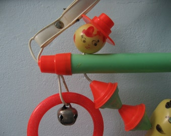 Vintage Mint and Orange Baby Activity Toy 1950s