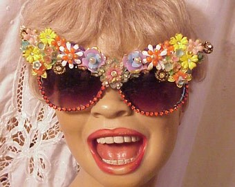 Decorated Vintage Flower Sunglasses by Jan Carlin One of a Kind Hollywood Glam