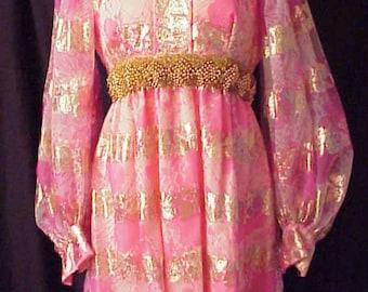 Pink Chiffon Party Mod Mini Dress Pink and gold flower Gertrude Frank prom dress