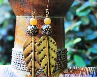 African Earrings, Tribal Earrings, African Shiel Earrings, Brass Shield Earrings, For Her, Ayize African Brass Shield Earrings