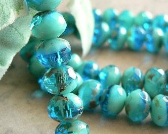 Capri Opaque Aqua Czech Glass Beads Rondell Blue Picasso 6x4mm (12)
