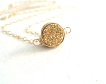 Mini Gold Druzy Necklace 24K gold Layering necklace gold Gift for her under 50 Vitrine