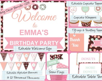 Party Decor Bundle,Editable PDF Welcome Sign, Alphabet Banner, Cupcake Toppers, Table Tents, Straw Flags, Thank You Tags & much more PDB-029