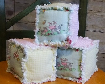 Soft Baby Blocks, Farm Animal Blocks, Rag quilt Blocks