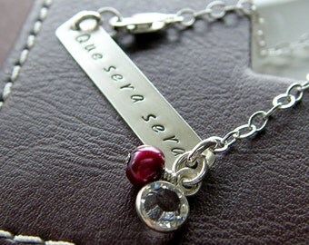 """Personalized Bracelet - """"Que Sera Sera"""" Sterling Silver Hand Stamped Jewelry - Custom 1.5"""" Bar Bracelet with Optional Birthstone and Pearl"""