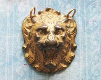 Gilded Lion King Gargoyle Escutcheon Jewelry Pendant Antique Brass Medieval Figural Day of the Dead Hardware Amulet