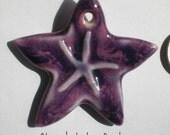 Purple Porcelain Sea Star Ornament or Pendant