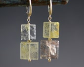 Reserved for Ofry Rutilated Quartz Earrings - 14k Gold - Rutilated Quartz - Hand Cut Stones