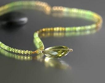 Grossular Garnet Jewelry - Olive Citrine Necklace - Grossular Garnet - Gold Fill