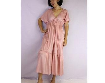 Deep Peach Soft Stretch fabrics -Neck Maxi Ruffle Tunic Dress One all most (TU 6)