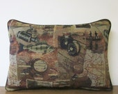 Tapestry Pillow Fish Gone Fishing Fishermen Cabin Lodge Decor Woodlands