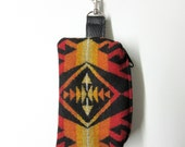 Wool Belt Loop Zippered Pouch Hip Bag Accessory Essentials Case Unisex Tribal Inspired Fire Colors