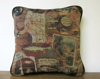Tapestry Pillow Fish Gone Fishing Fishermen Cabin Lodge Decor Woodlands