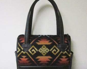 Handbag Purse Shoulder Bag Black Leather Blanket Wool from Pendleton Oregon Southwest Style