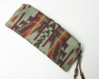 Zippered Pouch Pencil Case Accessory Organizer Cosmetic Bag Southwest Wool Shonto Sage