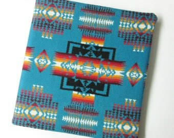 3 Ring Binder Cover Office School Photo Album Cover Wool Native American Print Turquoise Binder Included