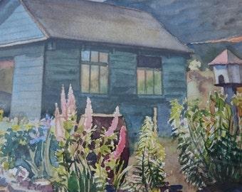 Vintage Cottage Landscape Countryside Original Watercolor Painting