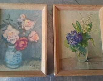 Vintage Miniature Botanical Flowers Art Prints in Original Wooden Frames 1950's Set of 2 M Riggenbach