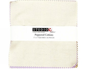 "StudioE PEPPERED COTTONS Precut 5"" Charm Pack Fabric Quilting Cotton Squares"