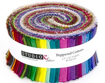 "StudioE PEPPERED COTTONS Strip Roll 2.5"" Precut Fabric Quilting Cotton Strips"