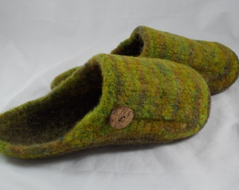 Camo Felted Wool slippers, Wool Shoes, US Women Size 8 1/2-9