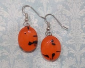 Orange Earrings, Dangle Fused Glass Earring, Halloween, Hypoallergenic, Fused Glass Jewelry, Etsy Jewelry - Fall Harvest --6