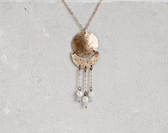 Boho moon phases necklace, in gold bronze, gemstones & pearls