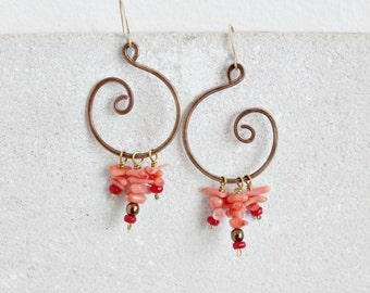 Chandelier swirl earrings, gold bronze & pink coral bamboo gemstones