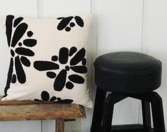 modern blooms in black pillow