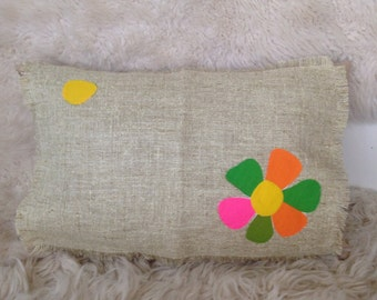 Vintage scandinavian pink green yellow dot floral pillow cover home decor 16x20