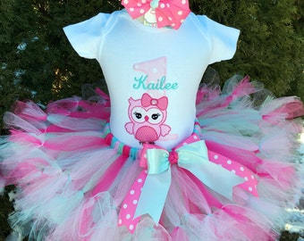 Baby Girl 1st Birthday Outfit - Owl Birthday - First Birthday Petti Tutu Outfit - Cake Smash Outfit
